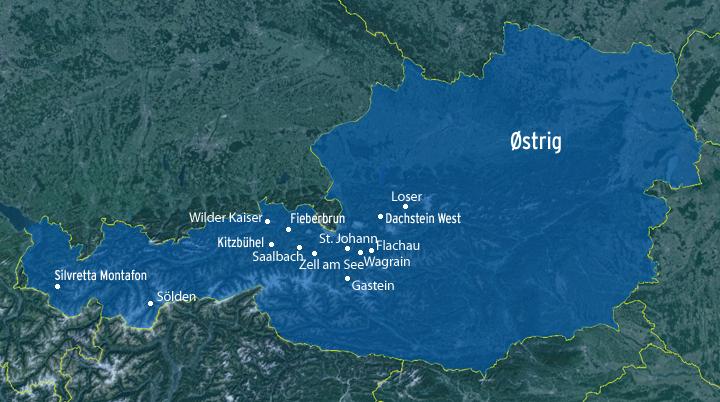 Se FJÄLLFERIEs destinations og skisportsteder Østrig
